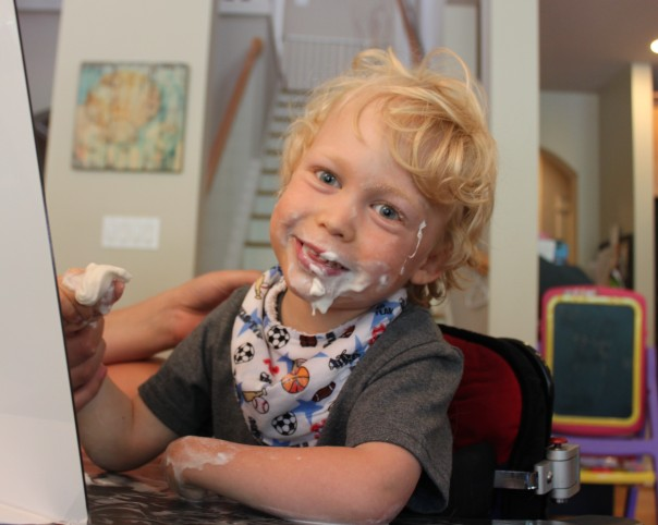 Playing with whip cream - what a messy life we live!